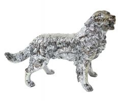 Figura A020 Pies Golden Retriever 54x44x34cm Srebny